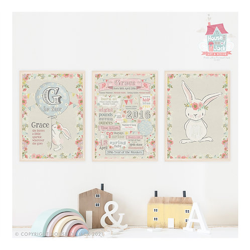 Vintage Bunny Personalised Art Print Trio Set