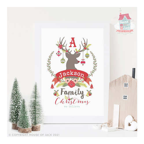 A Very Family Christmas - Personalised Art Print