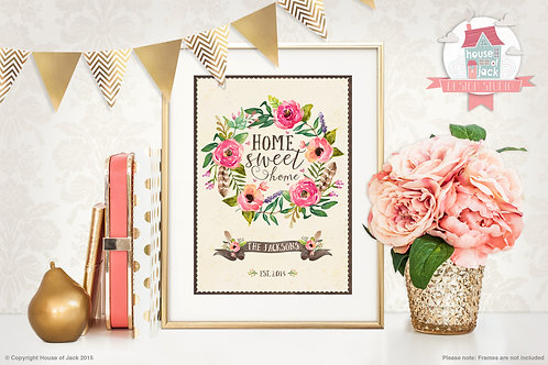 Home Sweet Home Floral Personalised Art Print
