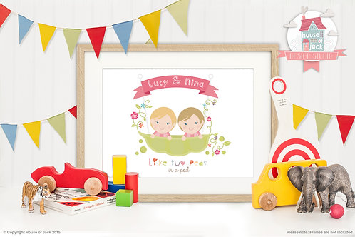 Jelly Tot Twins Personalised Art Print
