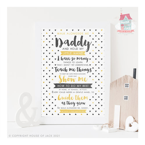 Walk Beside Me Daddy Personalised Art Print