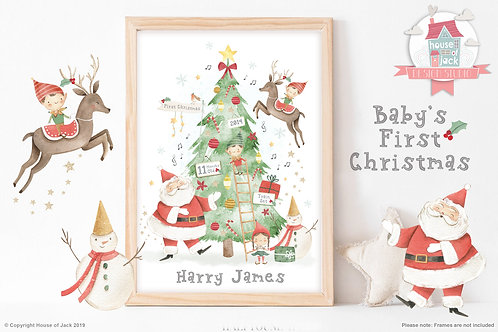 First Christmas Personalised Art Print