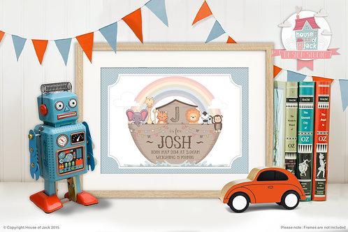 """Noah's Ark Boy"" Personalised Art Print"