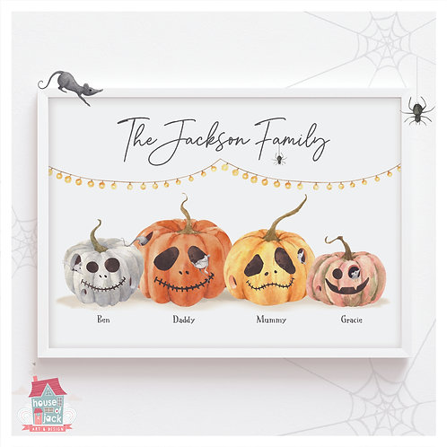 Family Pumpkin Patch Personalised Art Print