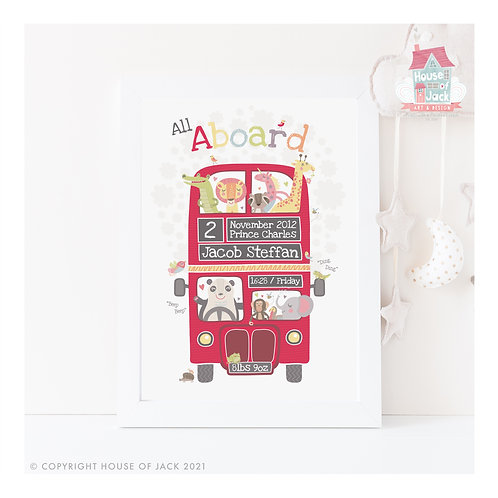 All Aboard Personalised Art Print