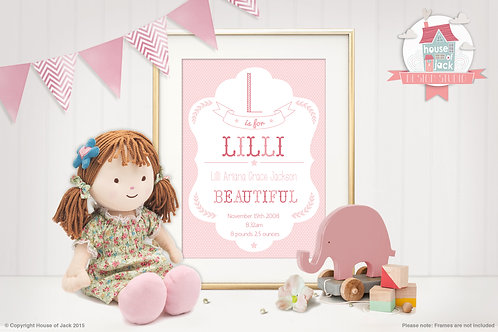 """Baby Girl"" Personalised Art Print"