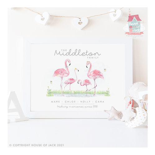 Flamingos Animal Family Portrait Personalised Art Print