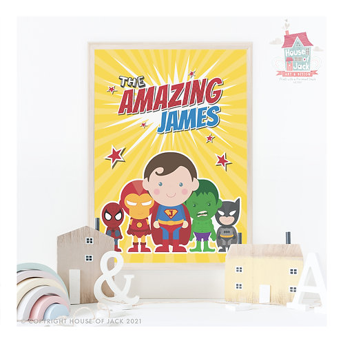 Jelly Tot Superhero Personalised Art Print