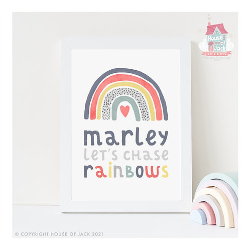 Chase Rainbows Personalised Art Print