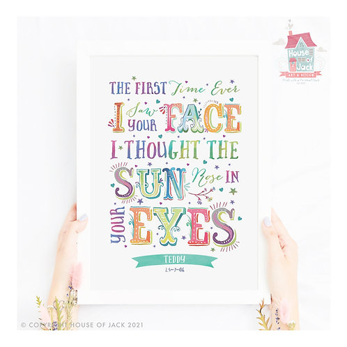 """First Time"" Carnival Personalised Art Print"