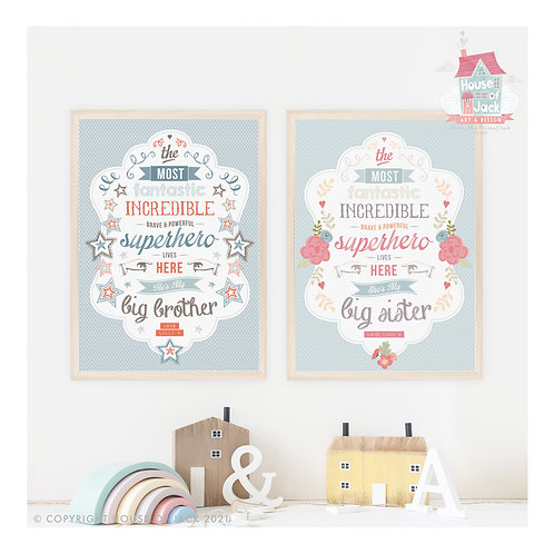 Big Brother or Sister Personalised Art Print