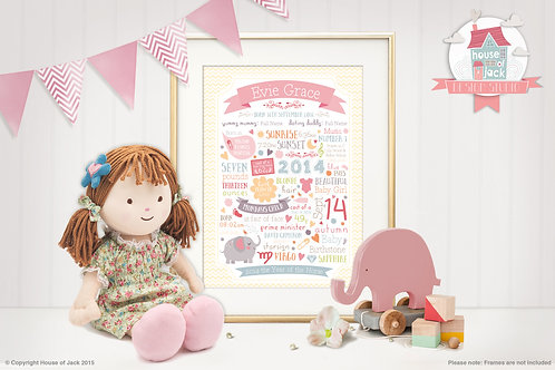 Birthday Girl Personalised Art Print