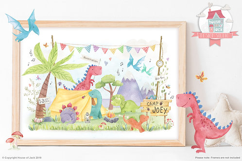 "Animal Birth Details ""Dino Camp"" Personalised Art Print"