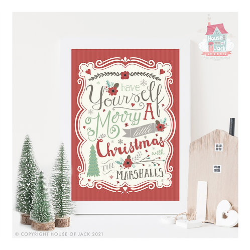 Merry Little Christmas - Personalised Art Print