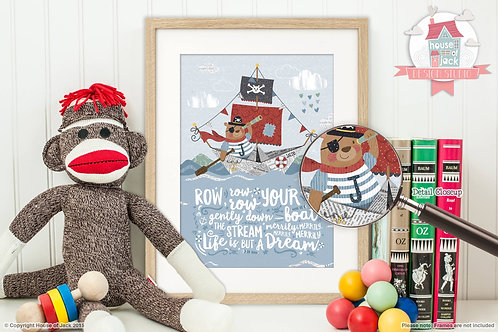 Row Your Boat Personalised Art Print