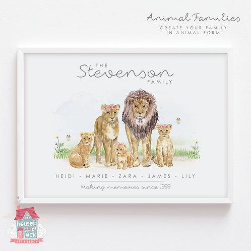 Lion Animal Family Portrait Personalised Art Print