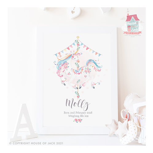 Carousel Unicorn Personalised Art Print