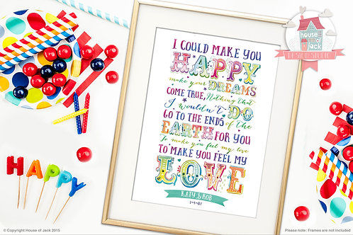 """My Love"" Personalised Art Print"