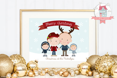Christmas Family Portrait - Personalised Art Print