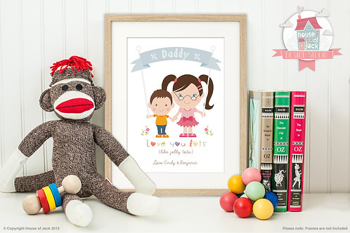 Jelly Tot Siblings Personalised Art Print