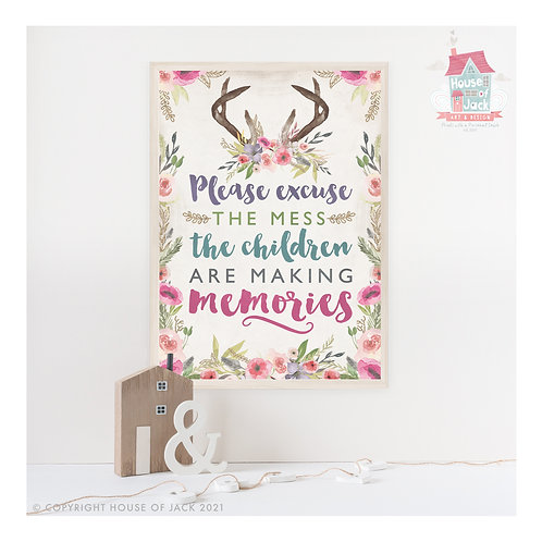 Rustic Family Excuse the Mess Art Print