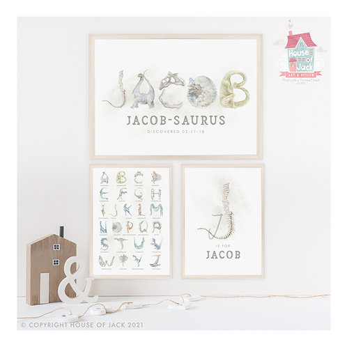 Watercolour Dinosaurs Personalised Art Print Trio