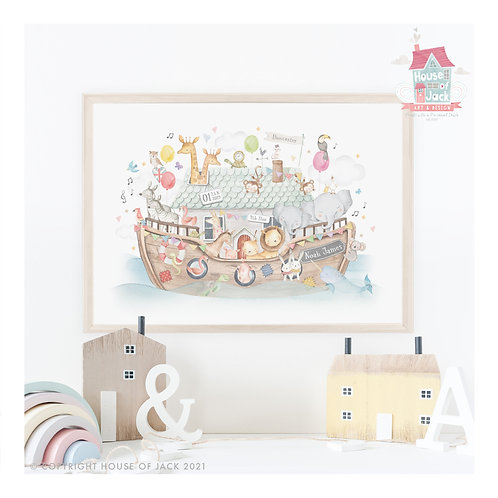 "Animal Birth Details ""Noah's Ark"" Personalised Art Print"