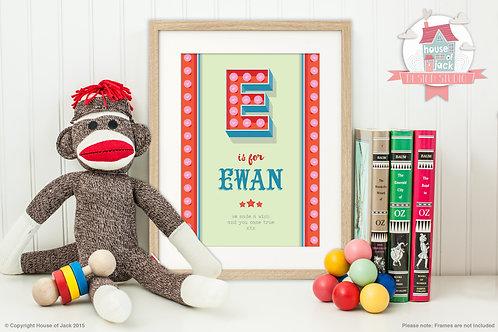 """Circus Initial """"E"""" Personalised Art Print"""