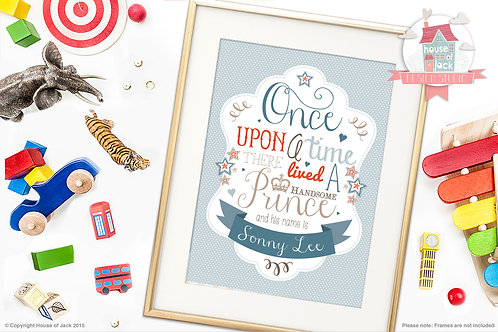 """""""Once Upon a Prince"""" Personalised Art Print"""