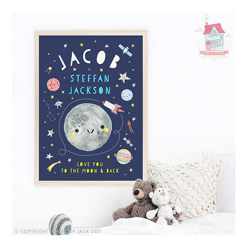 Solar System Personalised Name Art Print