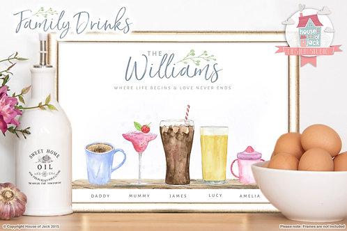 Watercolour Family Drinks Personalised Art Print