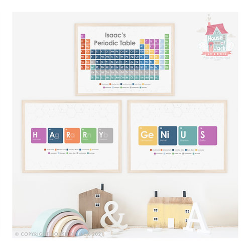 Periodic Personalised Art Print Trio