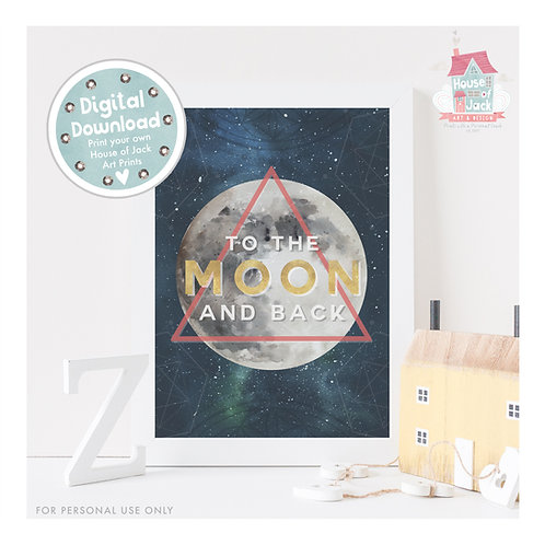 Moon and Back Graphic Digital Art Print