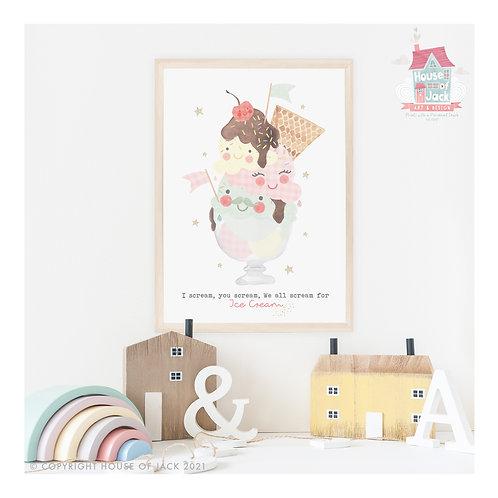Ice Cream Sundae Art Print