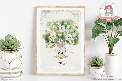 Watercolour Family Tree Personalised Art Print