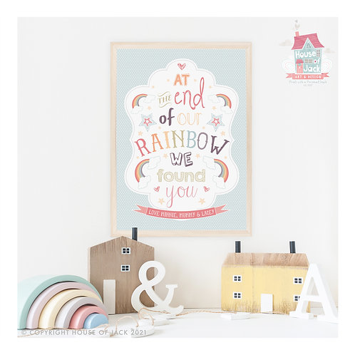 """Rainbow"" Personalised Art Print"