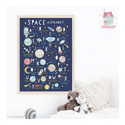 Solar System Space Alphabet Art Print
