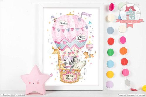 "Animal Birth Details ""Air Balloon"" Personalised Art Print"