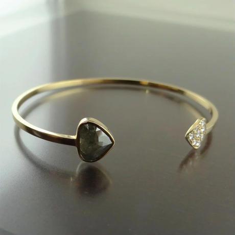 スライスダイヤモンド グレーダイヤモンド&ローズカットダイヤモンド バングル K18YG
