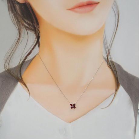 K18WG ルビー×ダイヤモンド フラワーネックレス
