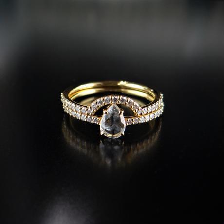 K18YG ローズカット ペアシェイプカット ダイヤモンド マイクロパヴェ セットリング #13