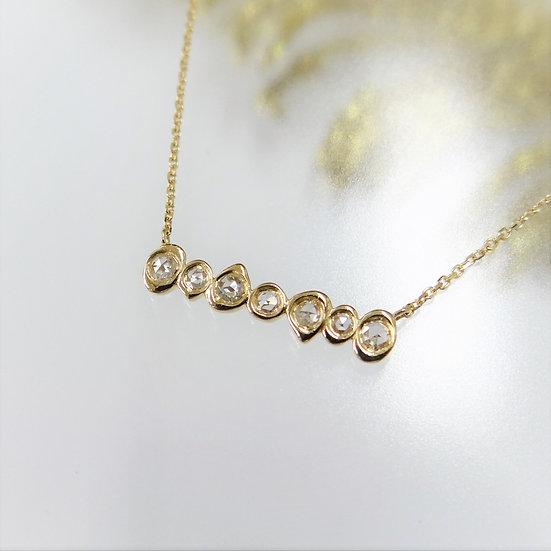 ローズカットダイヤモンド7石 デザインネックレス K18YG/WG/PG