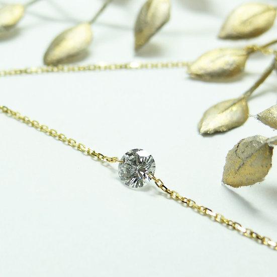 K18YG レーザーホールダイヤモンド 一粒シンプルブレスレット
