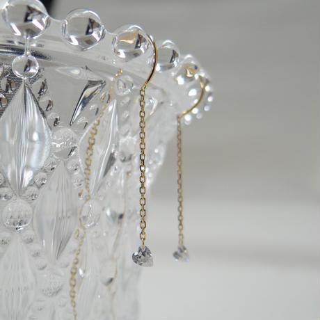 ハートシェイプ レーザーホールダイヤモンド 0.14ct アメリカンチェーンピアス - K18YG/WG/PG