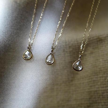 K18YG しずく型 ローズカットダイヤモンド 一粒ネックレス【Sサイズ】