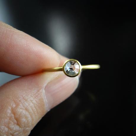 K18YG ローズカットダイヤモンド シンプル一粒リング 0.28ct