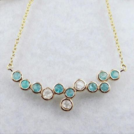 【ご商談中】パライバトルマリン & ローズカットダイヤモンド ネックレス K18YG