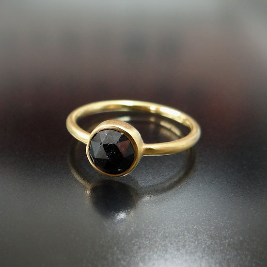 K18YG ローズカット ブラックダイヤモンドリング
