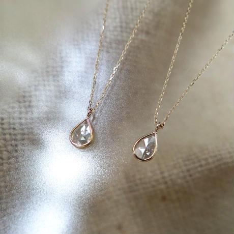 K18YG しずく型 ローズカットダイヤモンド 一粒ネックレス【Mサイズ】