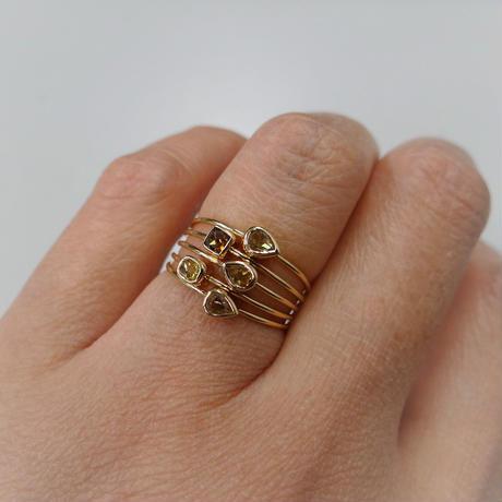 K18YG 一粒ファンシーカラーダイヤモンド チャームリング #9